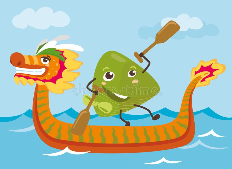 Dragon boat & rice dumpling cartoon characters illustration vector illustration