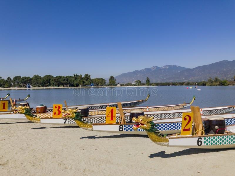Dragon boat at Santa Fe Dam Recreation Area. Los Angeles County, California, United States stock photos