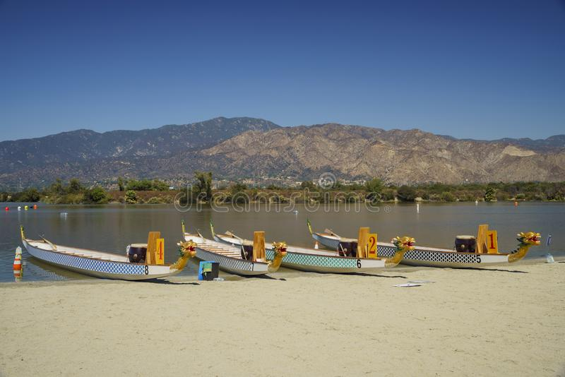 Dragon boat at Santa Fe Dam Recreation Area. Los Angeles County, California, United States stock photography