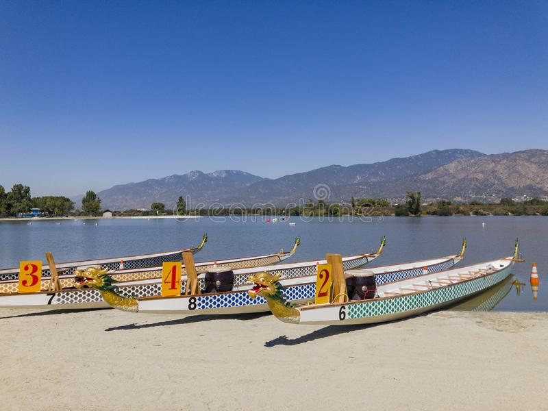 Dragon boat at Santa Fe Dam Recreation Area. Los Angeles County, California, United States royalty free stock image