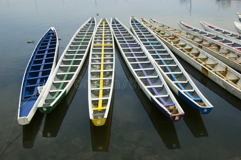 Dragon Boats. Philippine navy's dragon boats in manila bay, philippines royalty free stock image