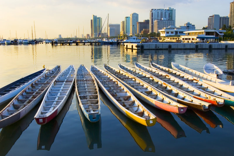 Dragon Boats. Philippine Navy's dragon boats in Manila Bay, Philippines stock photos