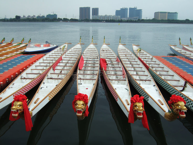 Dragon Boats and Buildings. In a park royalty free stock images