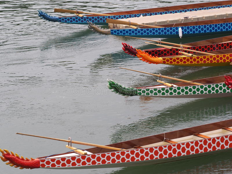 Dragon Boats. Edmonton Dragon Boat Festival boats August 2014 royalty free stock images
