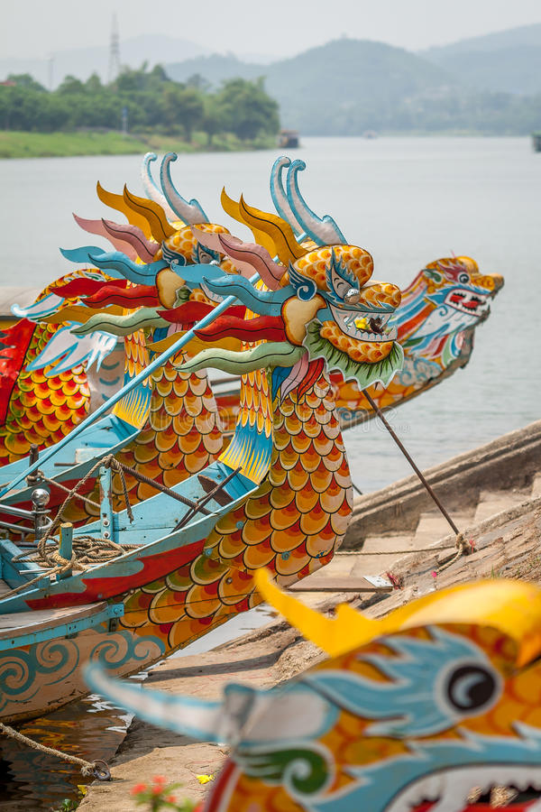 Dragon Boats. In the Perfurm River, Hue, Vietnam stock photography