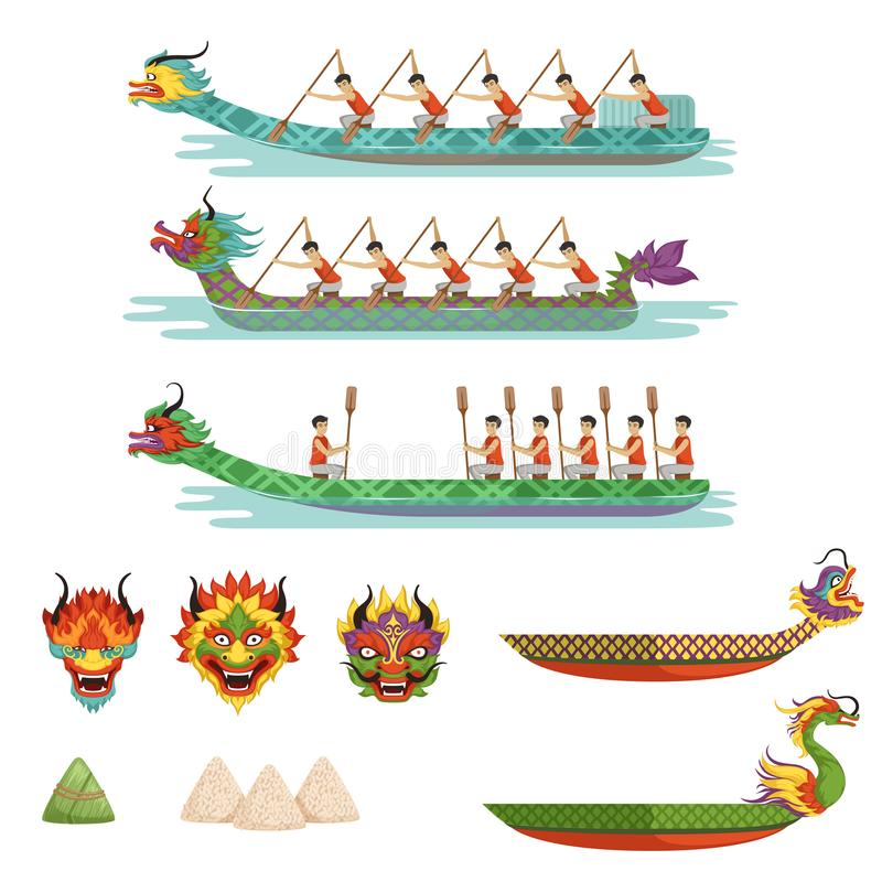 Dragon boats set, team of male athletes compete at Dragon Boat Festival vector Illustrations royalty free illustration