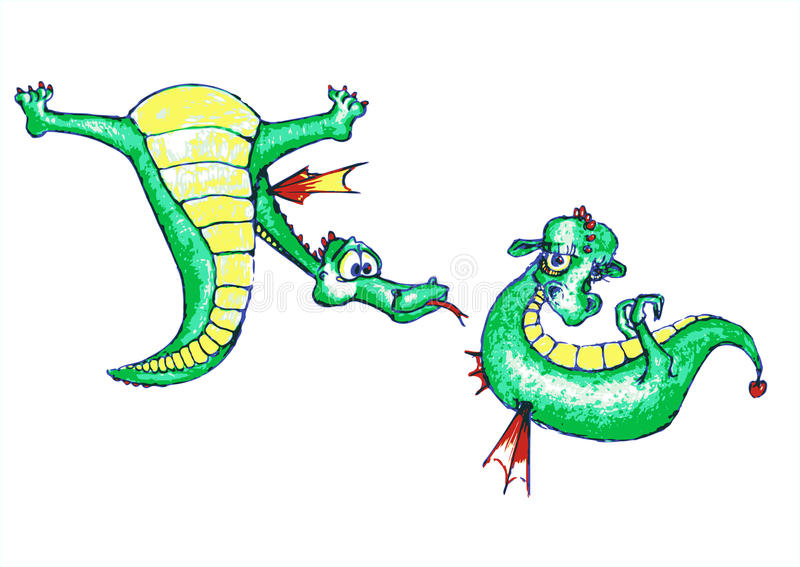 Download Dragon-boy Courting A Cute Dragon-girl Stock Illustration - Illustration: 28256508