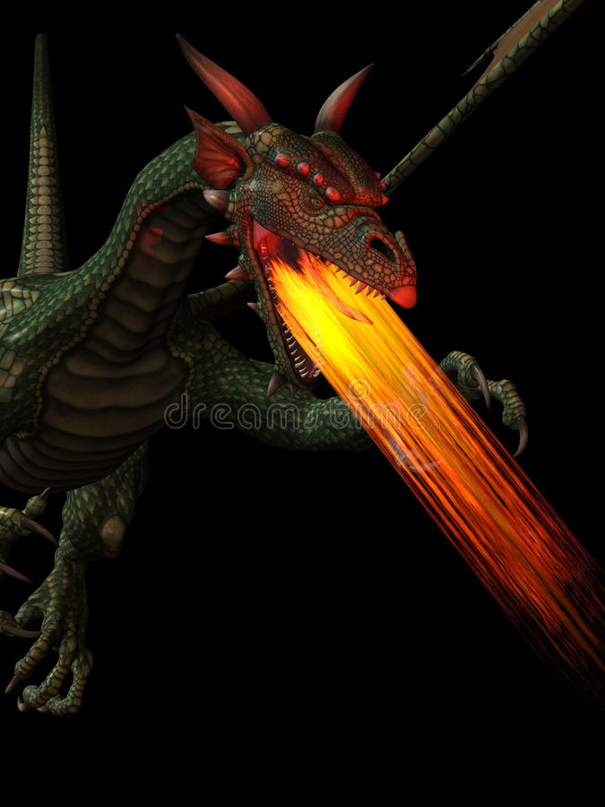 Dragon breathing fire stock illustration
