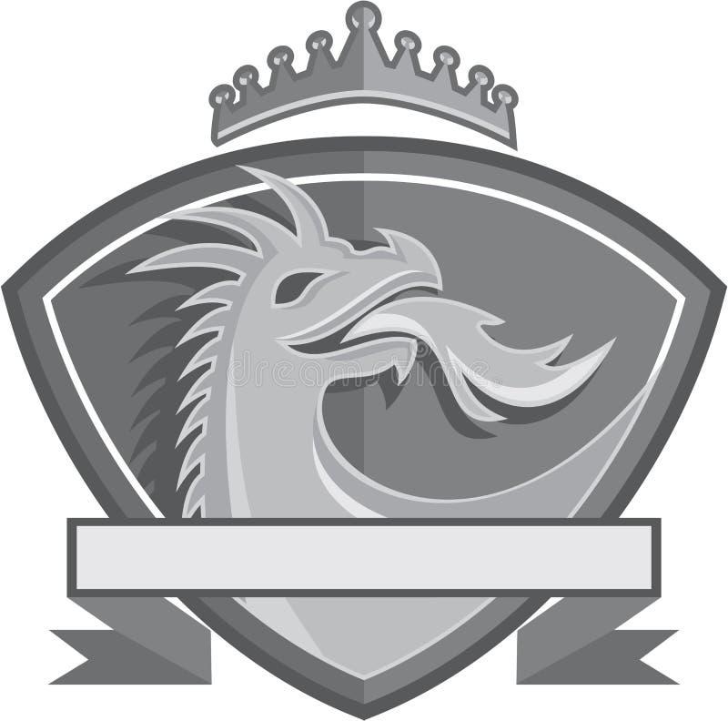 Dragon Breathing Fire Crown Shield rétro illustration libre de droits