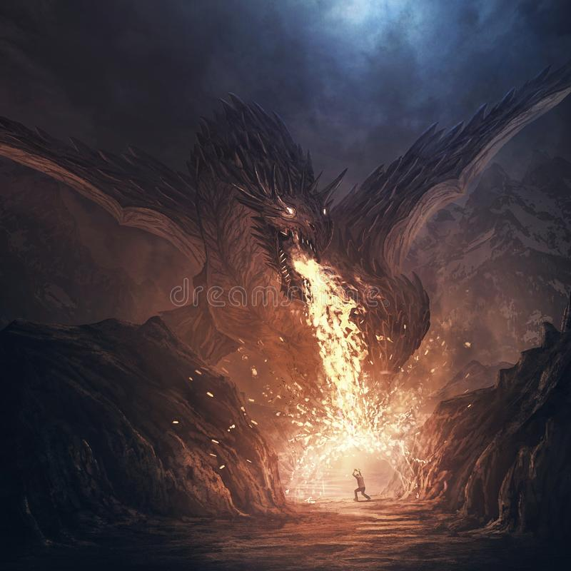 Dragon breathing fire. A large dragon breathes fire and a man defends himself royalty free stock photography