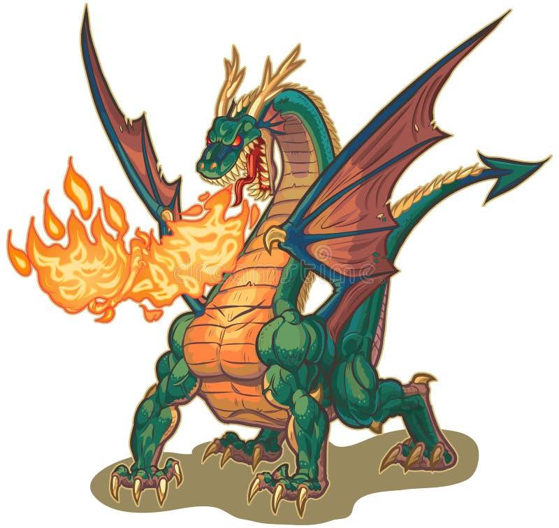 Dragon Breathing Fire Vetora Illustration muscular ilustração stock