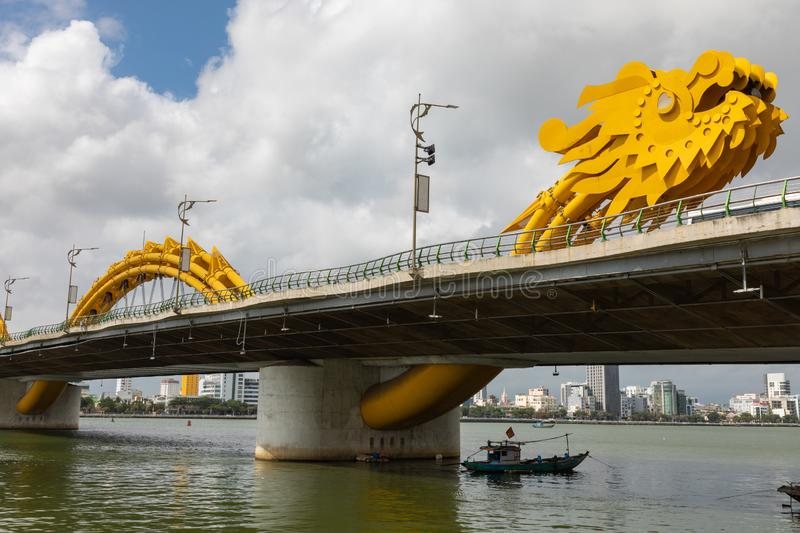 Dragon bridge  Cua Rong , this modern bridge crosses the Han River, designed and built in the shape of a dragon. It is a symbol. Of DaNang city, Vietnam stock photos
