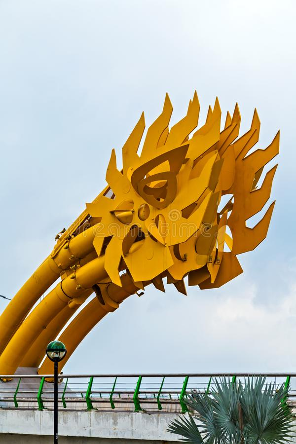 Dragon Bridge in Da Nang Han river in Vietnam. Attractions destination Dragon bridge electricity ( Cua Rong ), designed and built in the shape of a dragon in Da royalty free stock photography