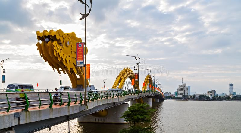 Dragon Bridge in Da Nang Han river in Vietnam. Da Nang, Vietnam - December 11, 2014: Attractions Dragon bridge electricity, designed and built in the shape of a royalty free stock photos