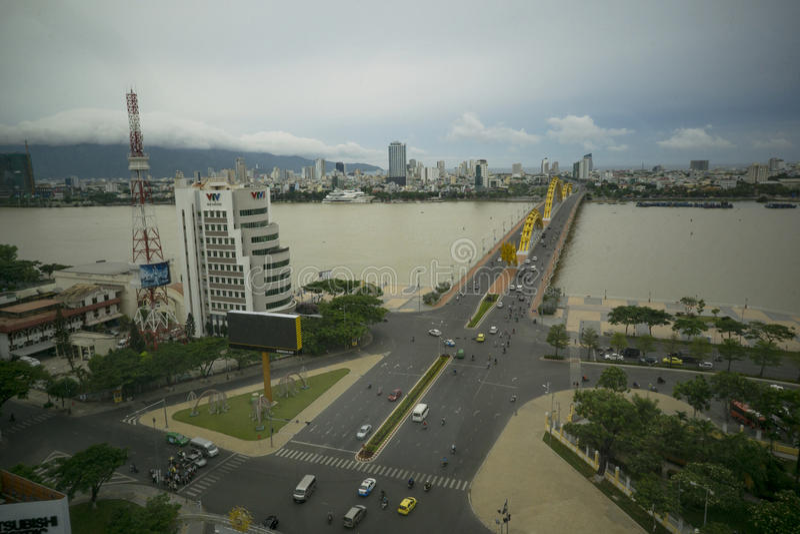Dragon bridge Da Nang Vietnam Apec 2017 royalty free stock photography