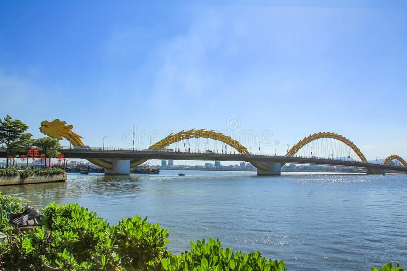 Dragon Bridge on Han River ,Da Nang. Vietnam royalty free stock images