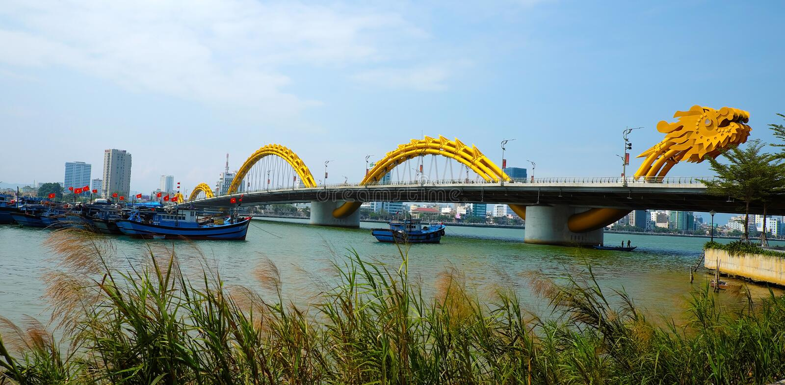 Dragon bridge, Han river, Da Nang, Vietnam. DA NANG, VIET NAM- FEB 18, 2016: Rong bridge also name Dragon bridge cross Han river with modern winding architect stock images