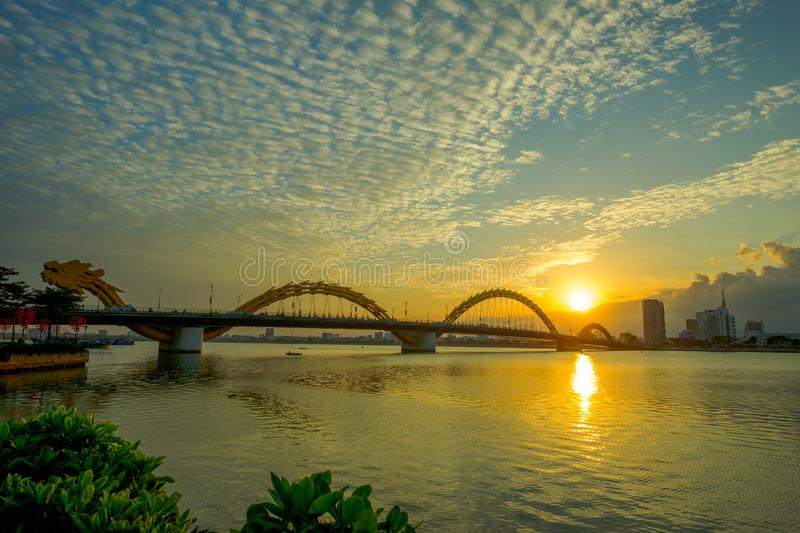 Dragon bridge of Han river in Vietnam. Da Nang, Vietnam - 10 May 2018: Dragon bridge of Han river in Vietnam royalty free stock images