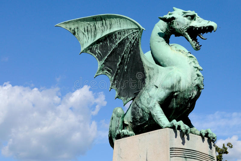 Dragon Bridge Ljubljana Slovenia. One of the dragons of Dragon Bridge in Ljubljana, Slovenia stock photos