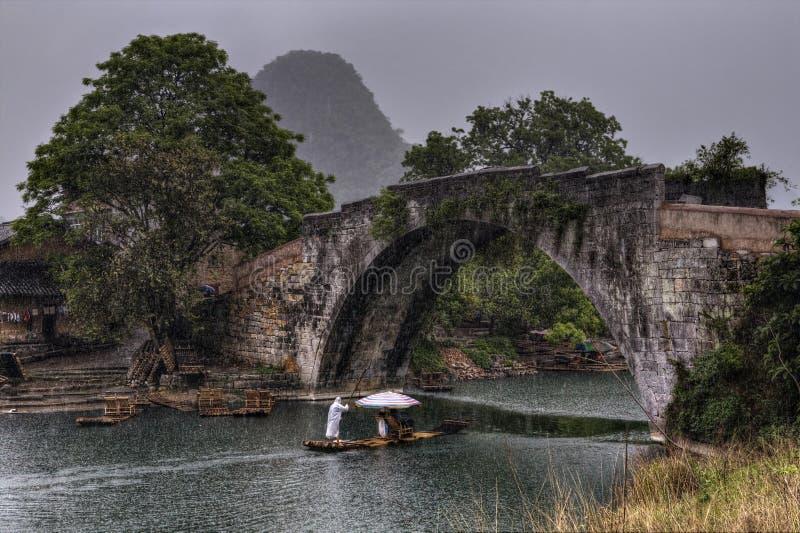 Dragon Bridge over Yulong River, Yangshuo, Guilin, Guangxi Province, China. Yangshuo, Guangxi, China - March 31, 2010: Bamboo raft with tourists sailing down royalty free stock photos