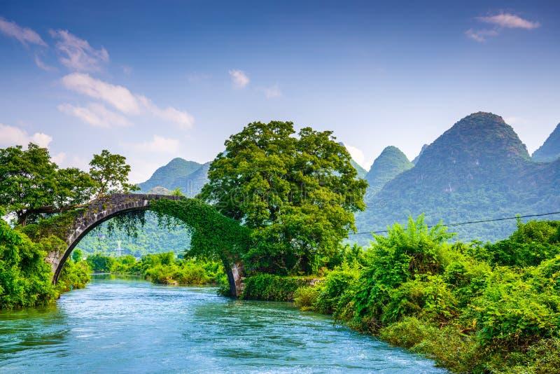 Dragon Bridge of Yangshuo, China. Yangshuo, China at the Dragon Bridge spanning the Li River royalty free stock images