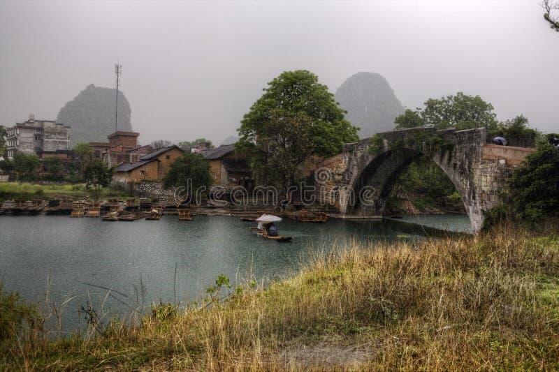Dragon Bridge on Yulong River, Yangshuo, Guilin, Guangxi Province, China. stock photos