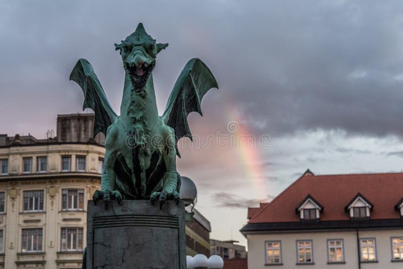 Dragon Bridge Zmajski más, Ljubljana, Eslovenia fotografía de archivo libre de regalías