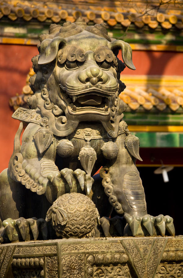 Dragon Bronze Statue Yonghe Gong Temple Beijing royalty free stock photography