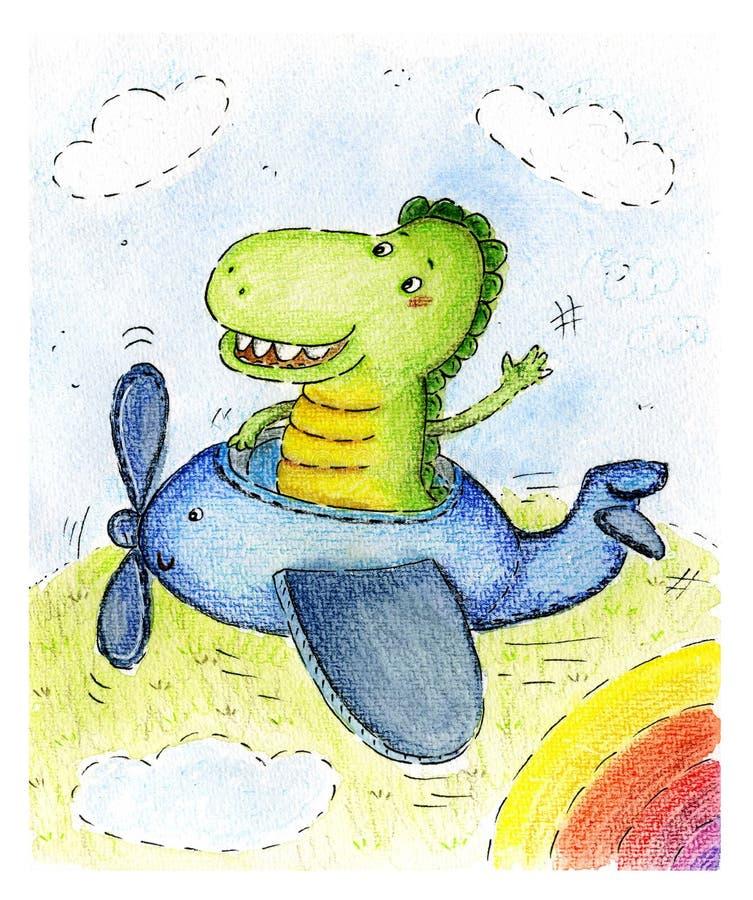 Dragon Cartoon Character sonriente feliz en aeroplano Ejemplo dibujado mano de la acuarela ilustración del vector
