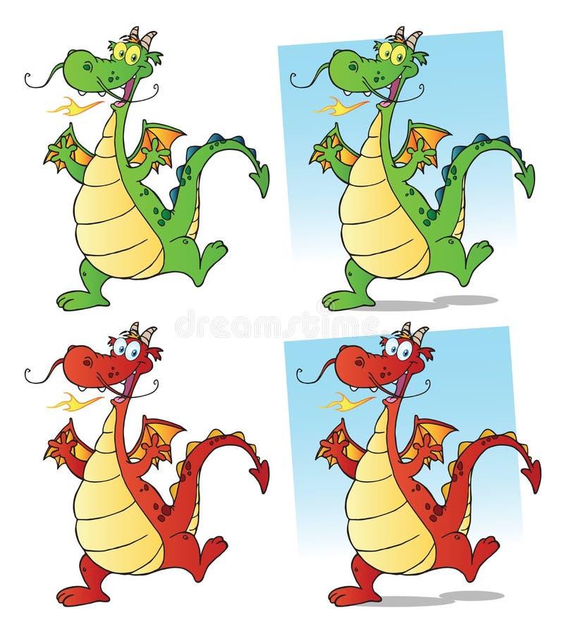 Dragon Cartoon Mascot Character Set inzameling royalty-vrije illustratie