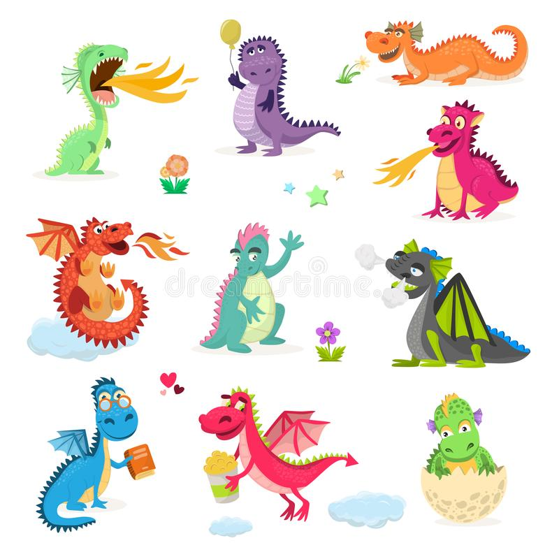 Dragon cartoon vector cute dragonfly dino character baby dinosaur for kids vector illustration