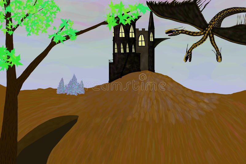 Dragon and castle or Russian folk tales stock photography