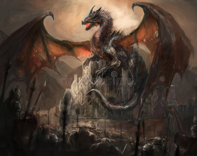 Dragon castle. War with the dragon on castle vector illustration