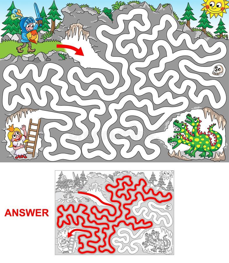 Dragon cave. Help knight to rescue princess jailed in a cave. Be aware of dragon! Labyrinth for kids. Landscape, easy vector illustration