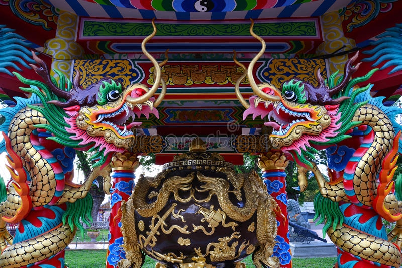 Dragon of cement. In joss house, Thailand stock image