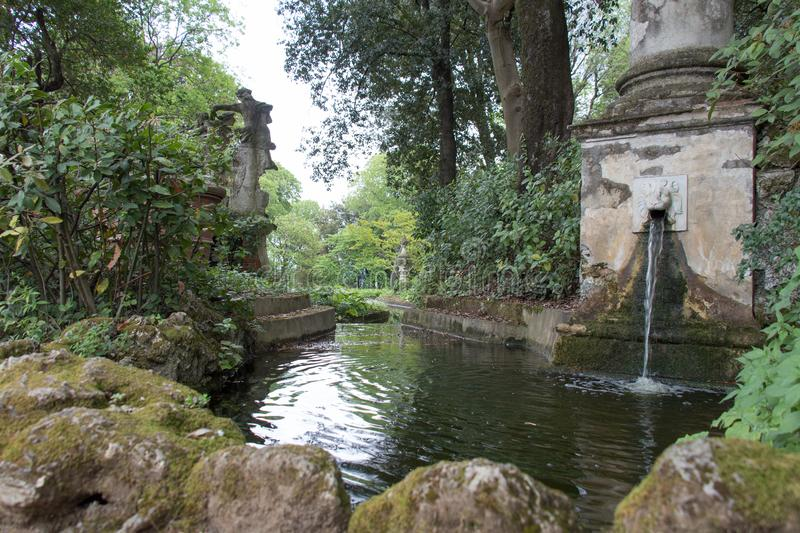 The dragon channel in Bardini Garden. Florence, Italy royalty free stock photo