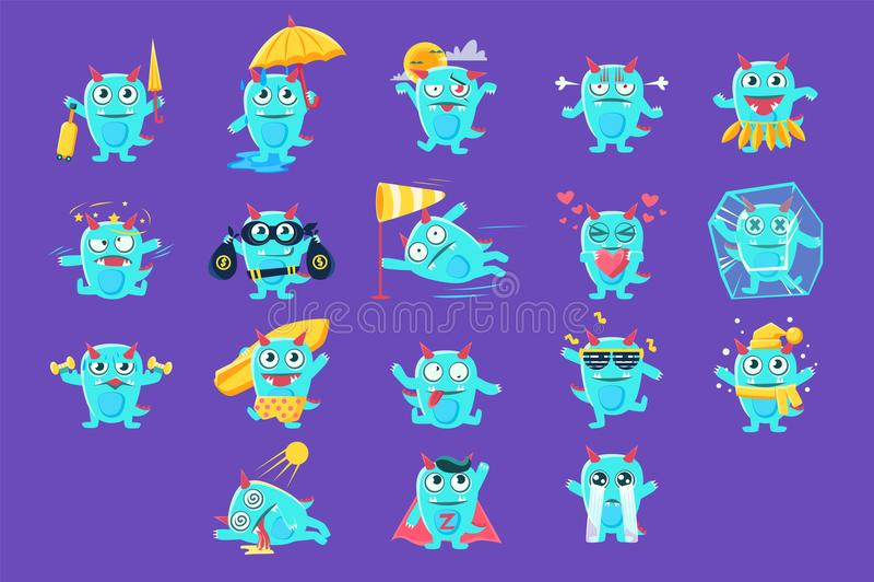 Dragon Character Activities Set bleu illustration de vecteur