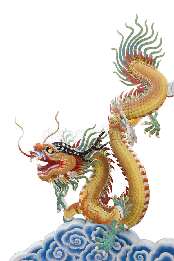 Dragon on chinese cloud. On white backgound royalty free illustration