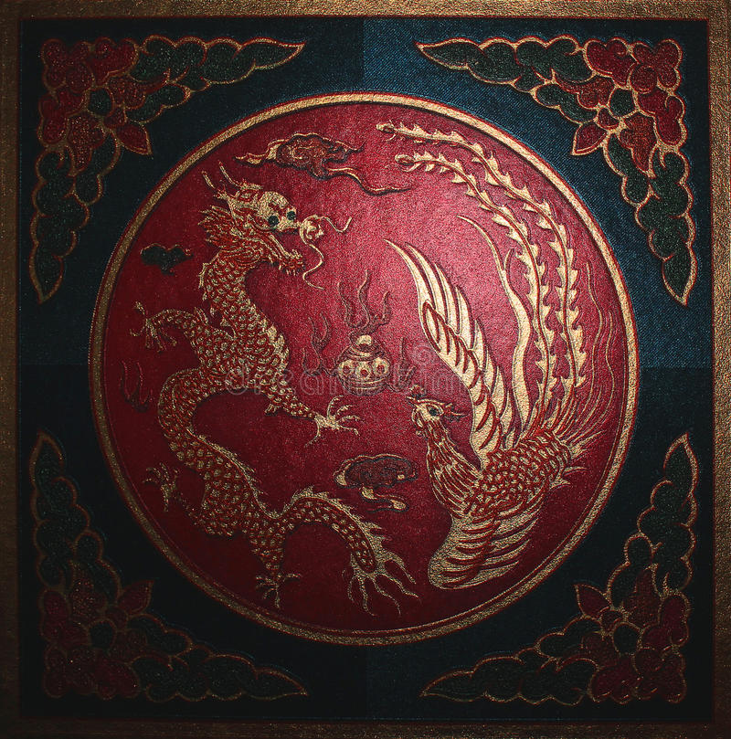 Dragon. Chinese symbols. Dragons and other chinese symbols on the wallpaper royalty free stock images