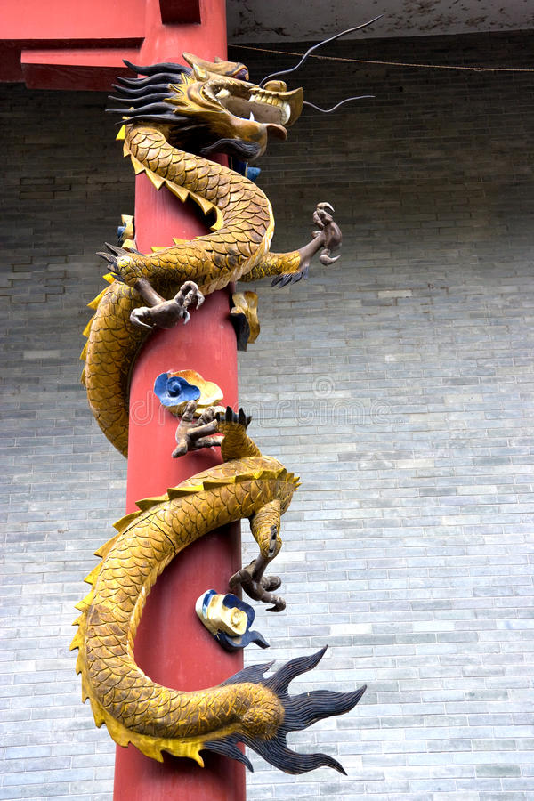 Dragon at Chinese Temple Entrance royalty free stock image
