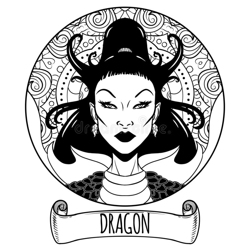 Dragon Chinese zodiac sign artwork as beautiful girl, adult coloring book page, vector illustration royalty free illustration