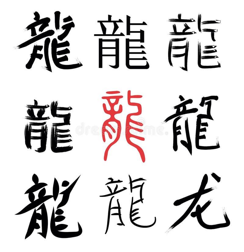 Dragon chinois d'hiéroglyphes illustration libre de droits