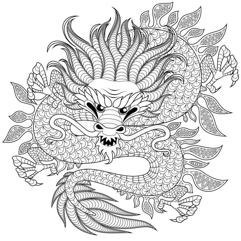 Dragon chinois dans le style de zentangle pour le tatoo Page antistress adulte de coloration Griffonnage tiré par la main noir et illustration de vecteur