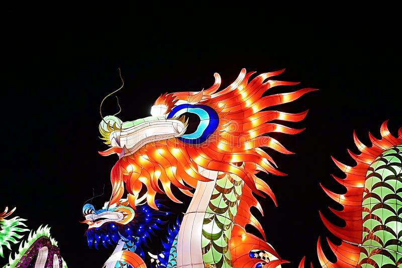 Dragon chinois de lumière de nouvelle année photographie stock libre de droits