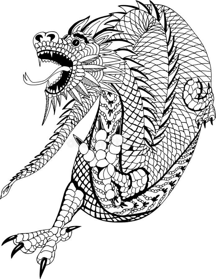 Dragon chinois Modèles tirés par la main pour la coloration illustration de vecteur