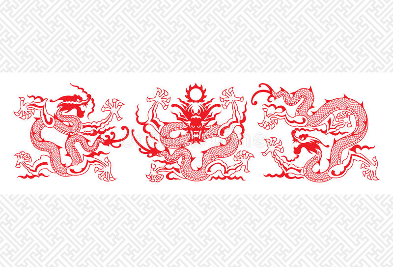 Dragon chinois rouge illustration stock