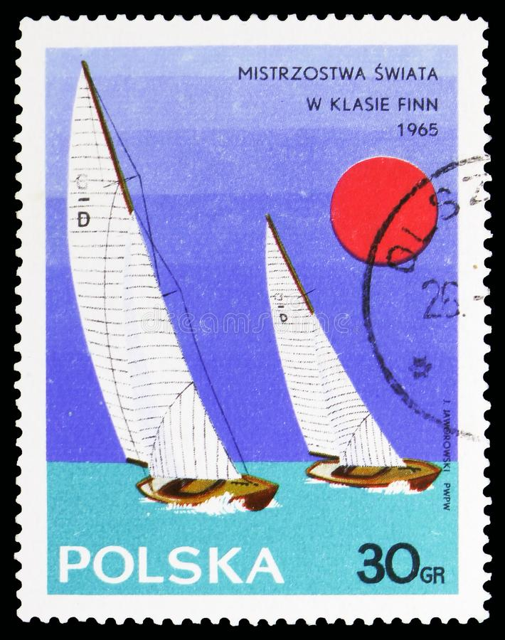 Dragon Class, Yachts serie, circa 1965. MOSCOW, RUSSIA - OCTOBER 6, 2018: A stamp printed in Poland shows Dragon Class, Yachts serie, circa 1965 stock photo