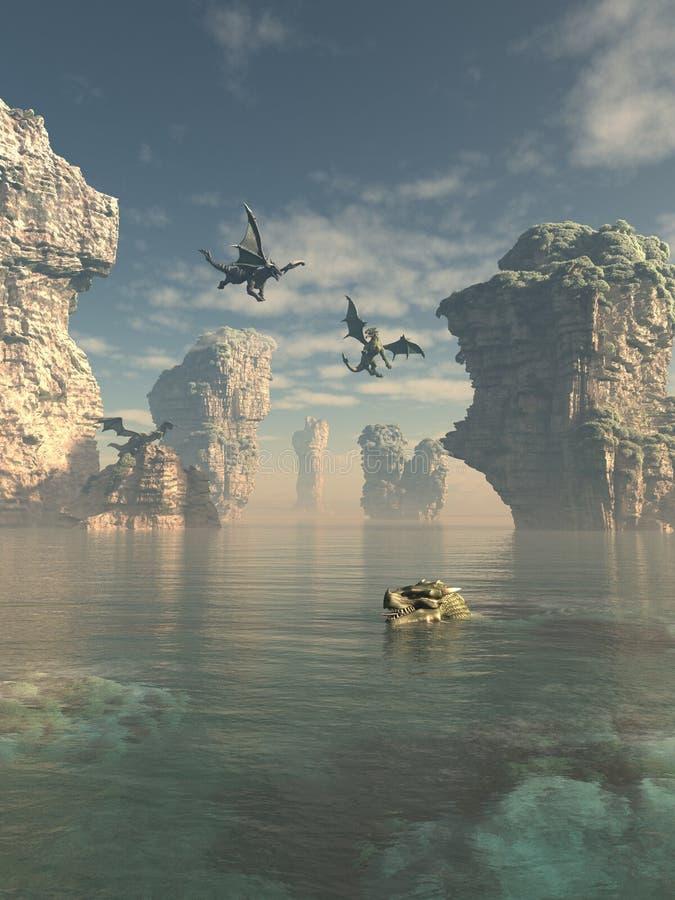 Dragon Cliffs ilustração do vetor
