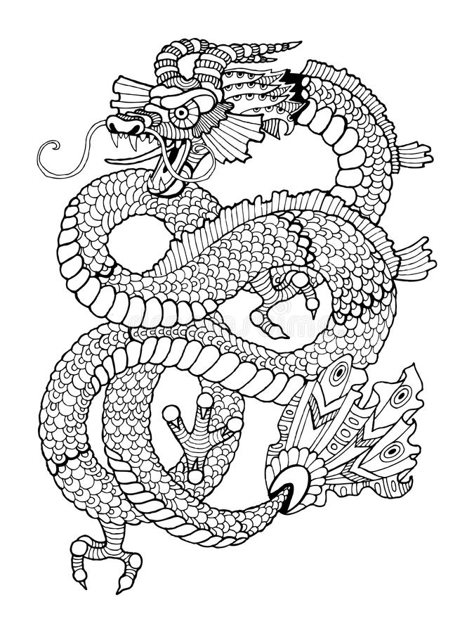 Dragon coloring book for adults vector. Illustration. Anti-stress coloring for adult. Tattoo stencil. Zentangle style. Black and white lines. Lace pattern vector illustration