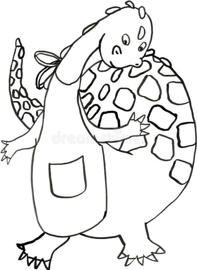 Download The dragon cook b/w stock illustration. Image of animal - 8229276